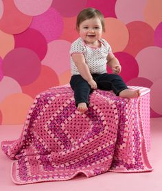 Strawberry Pink Crochet Blanket