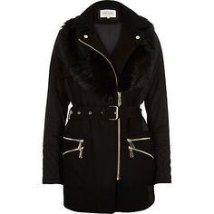 Black padded faux-fur collar jacket £95.00