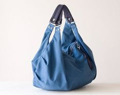 Large hobo bag shoulder slouch purse in sky blue canvas by milloo, $79.00