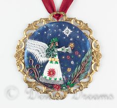 """$155.00 #christmasangel, #yuleangel, #angelpendant, #christmaspendant, #angelart, #christmasart, #polymerclayart, Christmas Angel Pendant, Angel Pendant, Christmas Pendant, Pagan Pendant, Yule Angel, Polymer Clay Pendant, Christmas Art This big and bold, but dreamy pendant is called """"Yule Angel"""""""