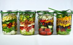 Brilliant! Mason Jar Layered Salads - dressing on the bottom so it doesn't wilt the lettuce.  These stay fresh for 4 days.