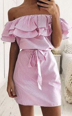 Pretty off the shoulder pink dress