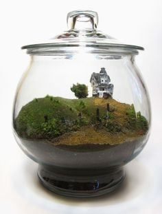WOW  Terrarium scale model of the Beetlejuice house from the Tim Burton film.  bishopillustration tumblr
