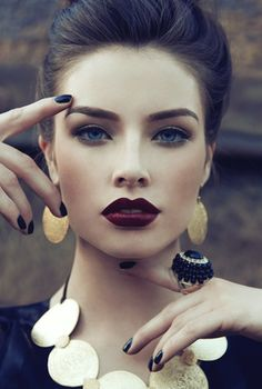 Purple lips, beautiful make up and classic beauty... Bold Lips on Bloom.com