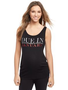 5155bb0ff5e26 Due in January Maternity Graphic Tank Top | Motherhood Maternity Ribbed Top,  Graphic Tank Tops