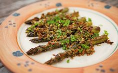 Asparagus spears with crunchy lemon and Parmesan ciabatta breadcrumbs