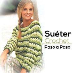 sueter tejido al crochet paso a paso ☂ᙓᖇᗴᔕᗩ ᖇᙓᔕ☂ᙓᘐᘎᓮ http:/ Crochet Poncho, Crochet Cardigan, Crochet Granny, Irish Crochet, Single Crochet, Crochet Lace, Crochet Stitches, Double Crochet, Crochet Patterns
