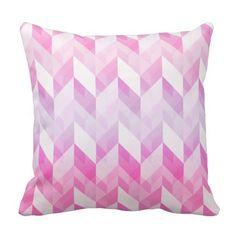 Shop Stylish Geometric Ombre Pink Pattern Throw Pillow created by VintageDesignsShop. Pink Pillows, Throw Cushions, Custom Cushions, Pink Patterns, Decorative Throws, Color Splash, Knitting, Stylish, Fabric