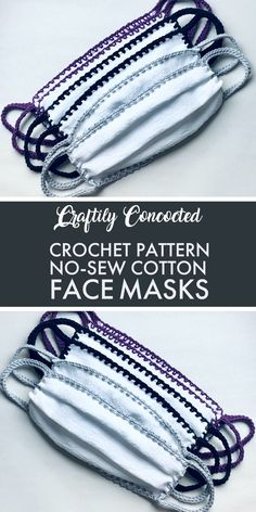 Learn to make No Sew Cotton Crochet Face Masks from tea towels, flour sack towels, or cotton fabric. Learn to make No Sew Cotton Crochet Face Masks from tea towels, flour sack towels, or cotton fabric. Crochet Crafts, Easy Crochet, Free Crochet, Fabric Crafts, Crochet Mask, Crochet Faces, Diy Mask, Diy Face Mask, Face Masks