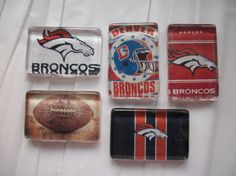 5 Denver Broncos NFL Football Glass Magnets by BadCatCraft on Etsy