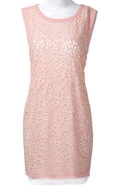 Pink Round Neck Sleeveless Hollow Slim Silk Dress