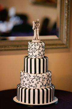 My elegant black and ivory Tim Burton inspired wedding cake, October 2012 made by The Cake Box