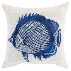 Add a pop of coastal style to your settee or patio chaise with this charming pillow, showcasing a fish motif over a geometric background.