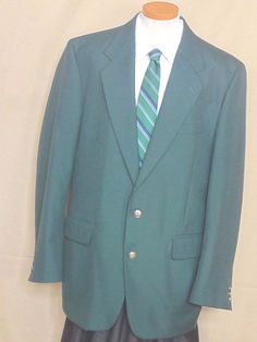 JM Bradbury Green Wool Gold Button Sport Coat Size 44L #JMBradbury #TwoButton