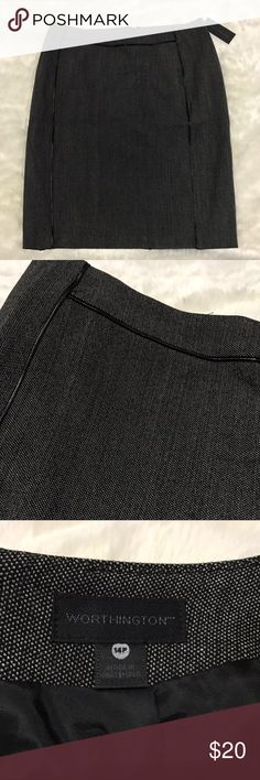 Worthington skirt size 14P Black with leather trim Worthington size 14P (petite) A line skirt never been worn, new with tags  Black with white small polka dots  Waist 16 1/2 length almost 23 Comes from a smoke and pet free home Worthington Skirts A-Line or Full