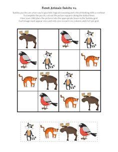 FREE printable Forest Animals Sudoku puzzles for kids Farm Animals Preschool, Preschool Activities At Home, Body Preschool, Preschool Learning, English Worksheets For Kids, English Lessons For Kids, French Lessons, Printable Puzzles For Kids, Free Printables