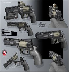 Revolver by rmory studios Sci Fi Weapons, Weapon Concept Art, Weapons Guns, Fantasy Weapons, Guns And Ammo, Airsoft, Hand Cannon, Future Weapons, Custom Guns