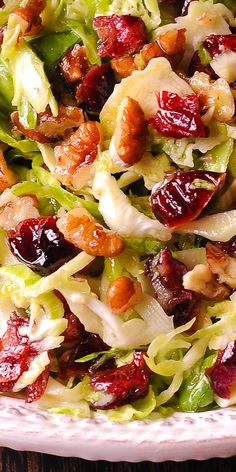 Brussels Sprout Cranberry Salad with Honey Mustard Vinaigrette #holidays #Thanksgiving #salad