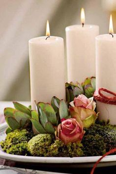 DIY Candles and Flowers all from the Dollar Store.Use on any occasion! Candle Lanterns, Diy Candles, Pillar Candles, White Candles, Candle Arrangements, Floral Arrangements, Centerpieces, Deco Rose, Garden Candles