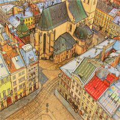 Lviv, Ukraine from Fantastic Structures coloring book