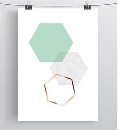 Mint Art Geometric Print Hexagon Art Minimalist by PrintAvenue