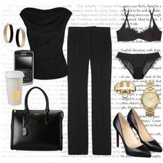 Anastasia Steele's All Black SIP Work Outfit, created by bigbadbrookie on Polyvore