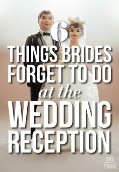 Wedding Checklist 6 Things Brides Forget To Do At The Reception - Your big day will fly by so fast. Find out the 6 important things you won't want to forget at your wedding reception, SHEfinds. Wedding Advice, Wedding Planning Tips, Budget Wedding, Plan Your Wedding, Wedding Reception, Wedding Planner, Reception Ideas, Reception Decorations, Reception Timeline
