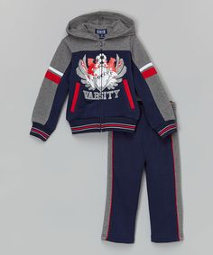Loving this Navy 'Soccer' Varsity Jacket & Track Pants - Boys on Bold Logo, Kids Suits, Sewing Patterns For Kids, Boys Pajamas, Bermuda, Kids Boys, Teen Fashion, Sport, Girl Outfits