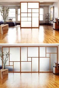 This is a pretty great system. This might be a good fit (or something like it) for the kids bathroom. Sliding Door Room Divider Design