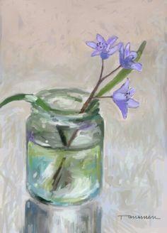 Violet flower Glass Vase, Painting, Home Decor, Art, Art Background, Decoration Home, Room Decor, Painting Art, Kunst