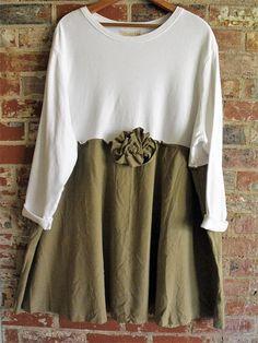2-3X White Knit Cotton Khaki Silk Dress/ Upcycled Plus Size