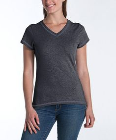 Take a look at this Charcoal Fitted V-Neck Top by lur® on #zulily today!