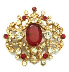 ART Signed Brooch, Red and Clear Rhinestones, Ornate Design, Gold Tone, Chatons and Oval Stones, 1960s