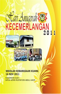Booklet cover for School Program : Idea from google - @ainshazreen (Malaysia) School Programs, I School, Booklet, Cover Design, Programming, Ss, Patterns, Frame, Block Prints