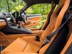 2014 Porsche Cayman S Coupe with Amber Orange and Agate Grey leather interior