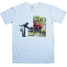 Banksy T Shirt - Grafitti Wallpaper - Light Blue / 2XL