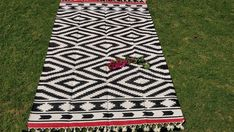 Cotton Flat Weave Rug Natural Dhurrie,Black and white Rug with Pom Pom ,Braided Rug,Big Area Rug, Big Area Rugs, 4x6 Rugs, Dhurrie Rugs, Long Rug, White Rug, Natural Rug, Woven Rug, Weave, Braided Rug