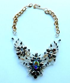 Clear Acrylic Statement Necklace with White Rhinestones