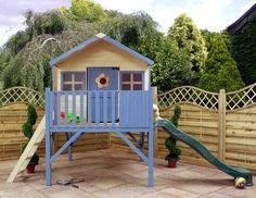 Buy Waltons Honeysuckle Tower Wooden Playhouse with Slide at Waltons Garden Buildings. UK made sheds, cabins and more. Free, fast delivery to most of UK Wooden Playhouse With Slide, Childrens Wooden Playhouse, Painted Playhouse, Playhouse Windows, Backyard Playhouse, Build A Playhouse, Playhouse Ideas, Playhouses For Sale, Small Front Yard Landscaping