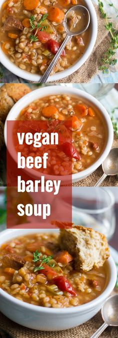Veggies, seitan chunks and barley are simmered up in herbed red wine-infused tomato broth to make this savory and satisfying vegan beef barley soup!