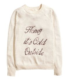 Fine-knit sweater in soft fabric with alpaca wool content. Rhinestone embroidery at front and long raglan sleeves. | Warm in H&M