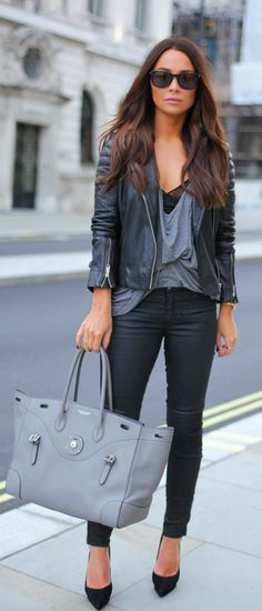 #leather #jacket #streetstyle #fashion #casual #women #trends #grey