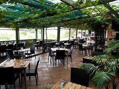 Vine covered restaurant at Stonyridge Vineyard on Waiheke Island outside of Auckland New Zealand
