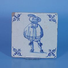 "A Wonderful 17th Century Dutch Delft Tile ""Man"" 