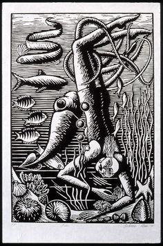 """Diver"" by Deborah Klein, 1995 (linocut)"