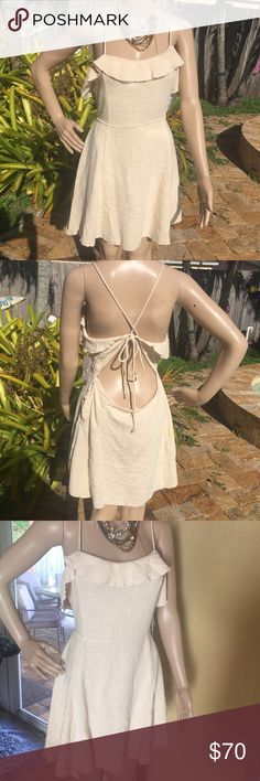 Free People Dress Beige knit dress. Open back style with ruffles on the front. Button closure on the side.  100% cotton Free People Dresses Mini