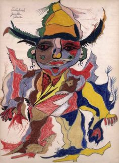 GASTON DUF  ( Pas-de-Calais, France, 1920-1966) / Pâûlîchinêle gânsthêrs vitrês'-he (1949) / Gaston Duf started to produce compositions in larger formats. Recurrent subjects are a clown-like figure and a protean beast that he called a rhinoceros. Furthermore, he spelt this word differently every time he drew this animal (...)