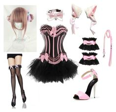 """""""Dmmd oc [neko maid for Toue]"""" by animebitch ❤ liked on Polyvore featuring OBLIQUE, Giuseppe Zanotti and Bodyline"""