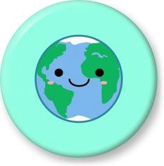 Earth emoji - Button Badge - Brooch - Gift