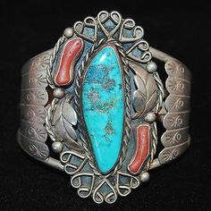 OLD PAWN NAVAHO TURQUOISE AND CORAL SILVER CUFF
